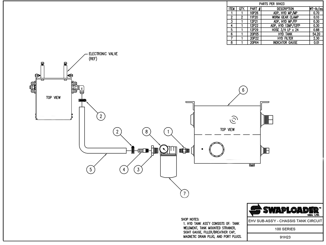 100 Series EHV Sub Assembly - Chassis Tank Circuit Diagram
