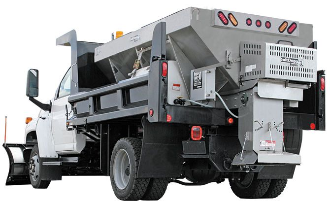 1400475SS-S.A.M. SaltDogg 3.5 Cubic Yard Gas Engine Stainless Steel Mid-Size Hopper Spreader
