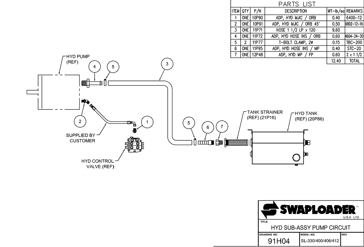 400 Series Hydraulic Sub-Assembly Pump Circuit Diagram