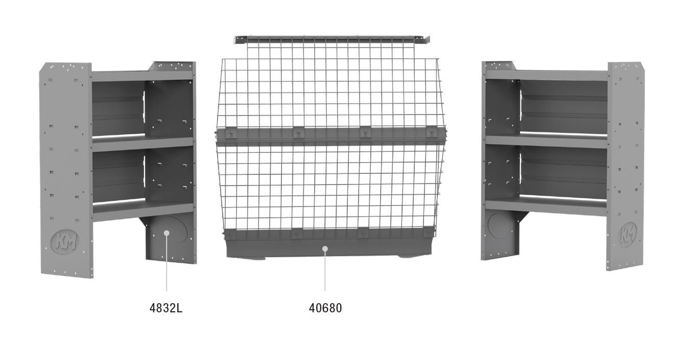 "Ford Transit Connect/RAM ProMaster City Van Commercial Shelving Package (Wire Partition, 43"" H Shelves, 120"" Wheel Base)"
