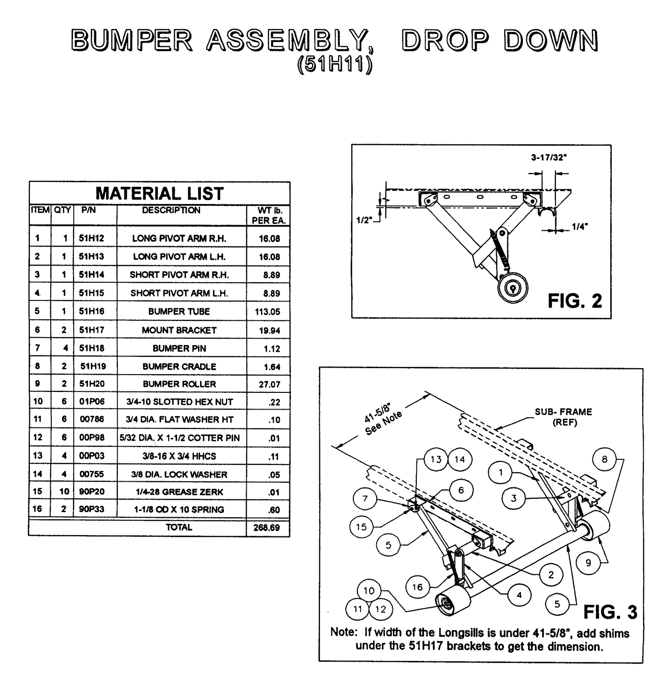 51H11 Drop Down Bumper Assembly Diagram
