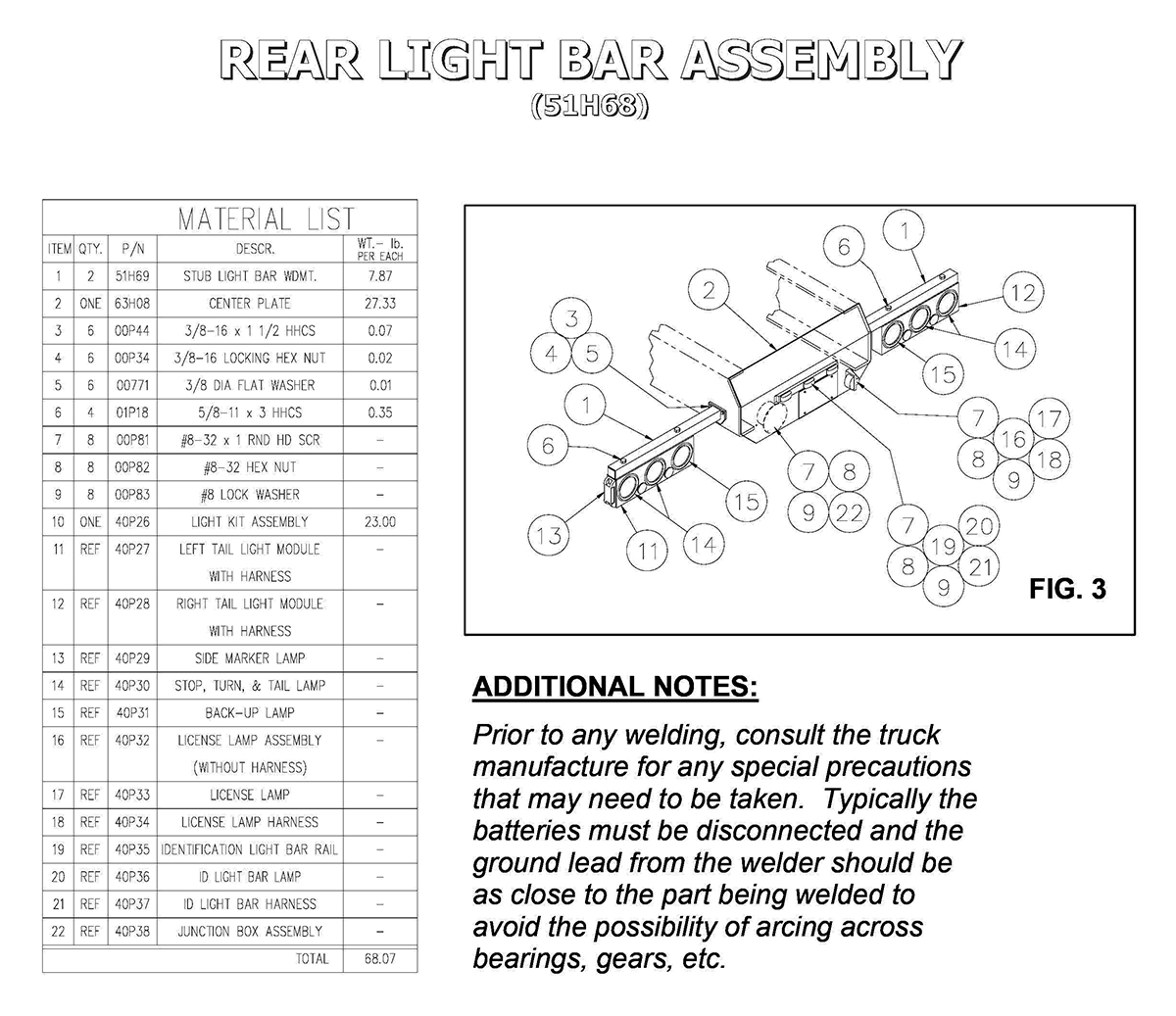 51H68 Rear Light Bar Assembly Diagram