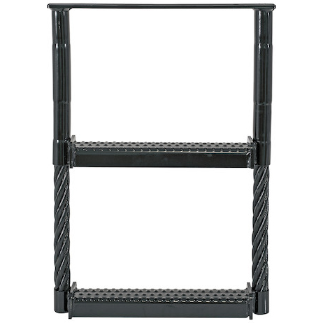 "Black Powder Coated Two-Rung Cable Type Truck Step (24"" x 18"")"