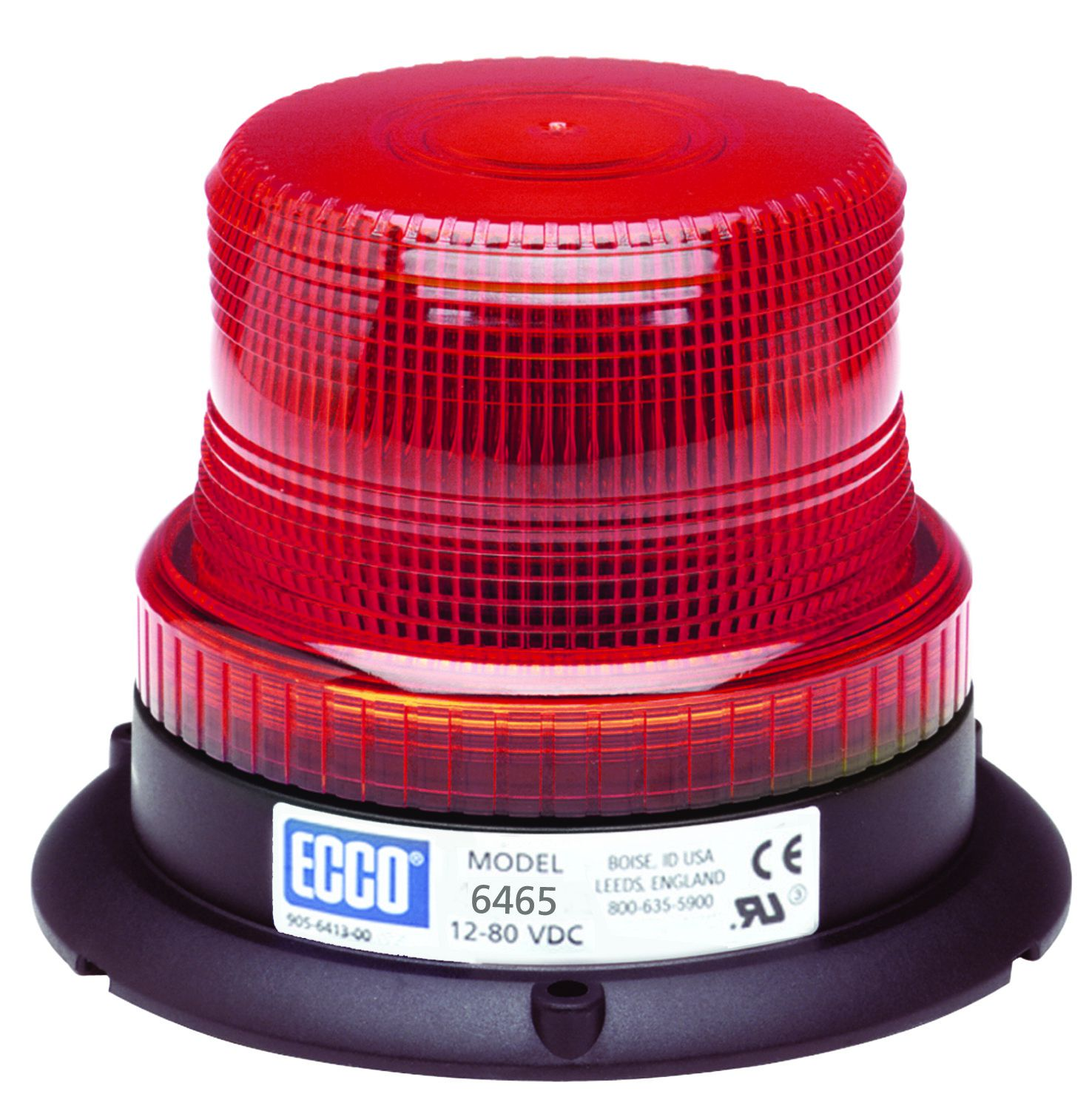 ECCO Lighting - LED Beacon: Low profile | 12-80VDC | pulse 8 flash | red
