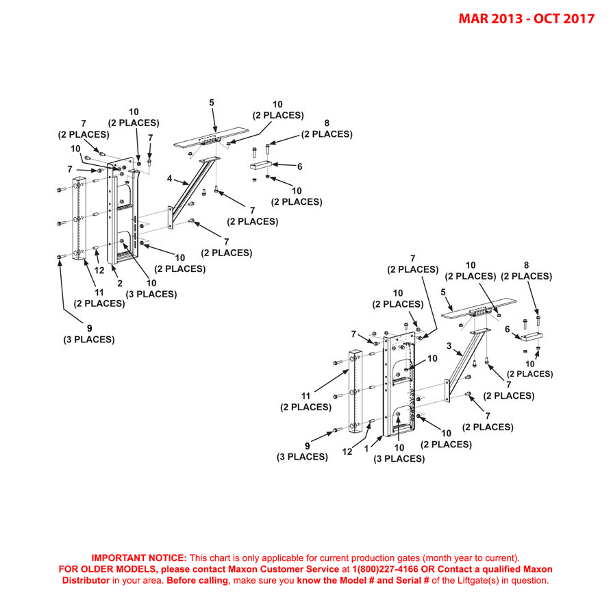 72-150 (Mar 2013 - Oct 2017) Galvanized Bolt-On Dual Step Assembly Diagram