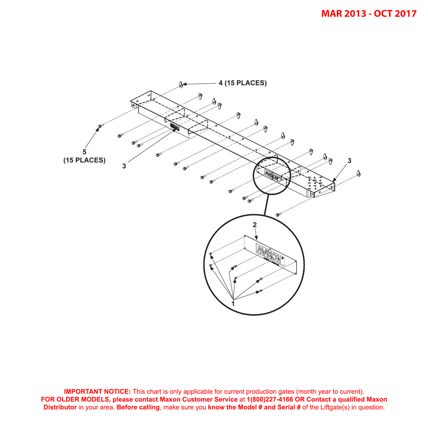 72-150 (Mar 2013 - Oct 2017) Galvanized Bolt-On Extension Plate Assembly Diagram
