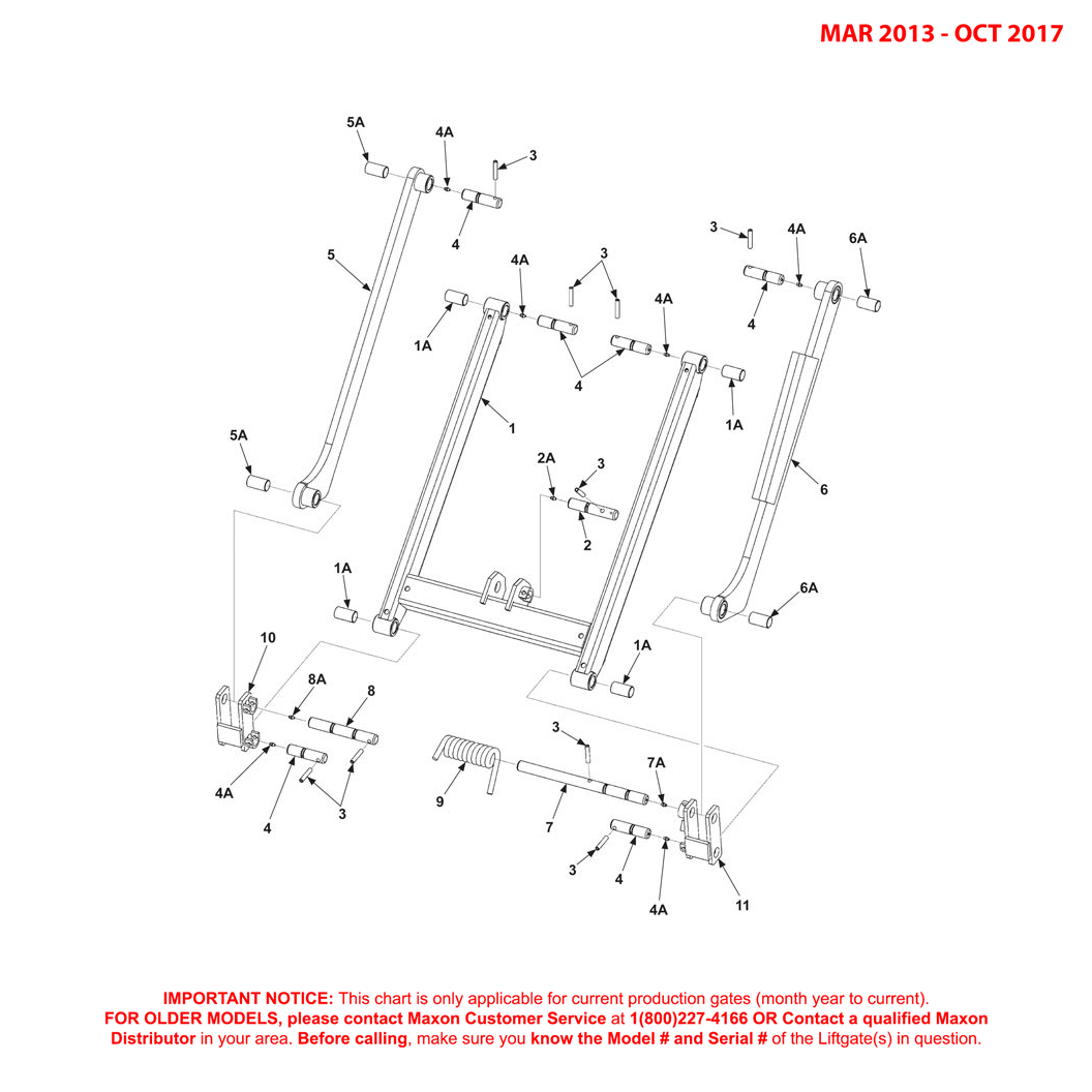 72-150 (Mar 2013 - Oct 2017) Lift Frame And Parallel Arms Diagram