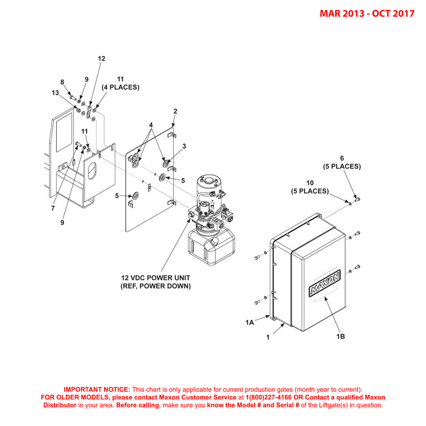72-150 (Mar 2013 - Oct 2017) Power Down Pump Cover And Mounting Plate Assembly Diagram