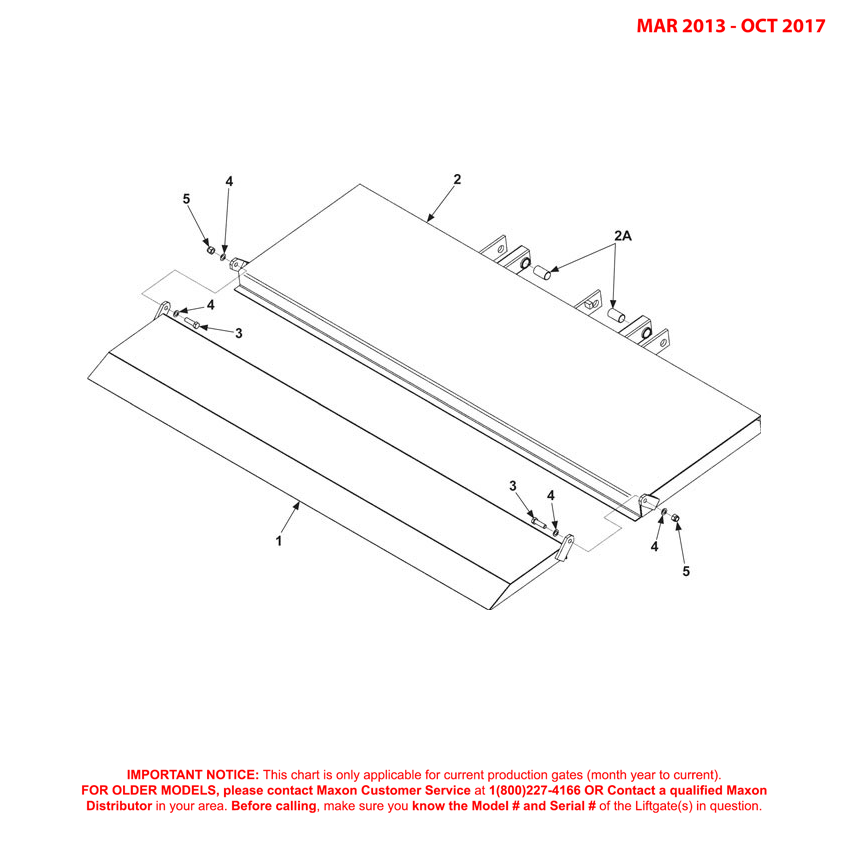 72-150 (Mar 2013 - Oct 2017) Ramp Platform And Flipover Assembly Diagram