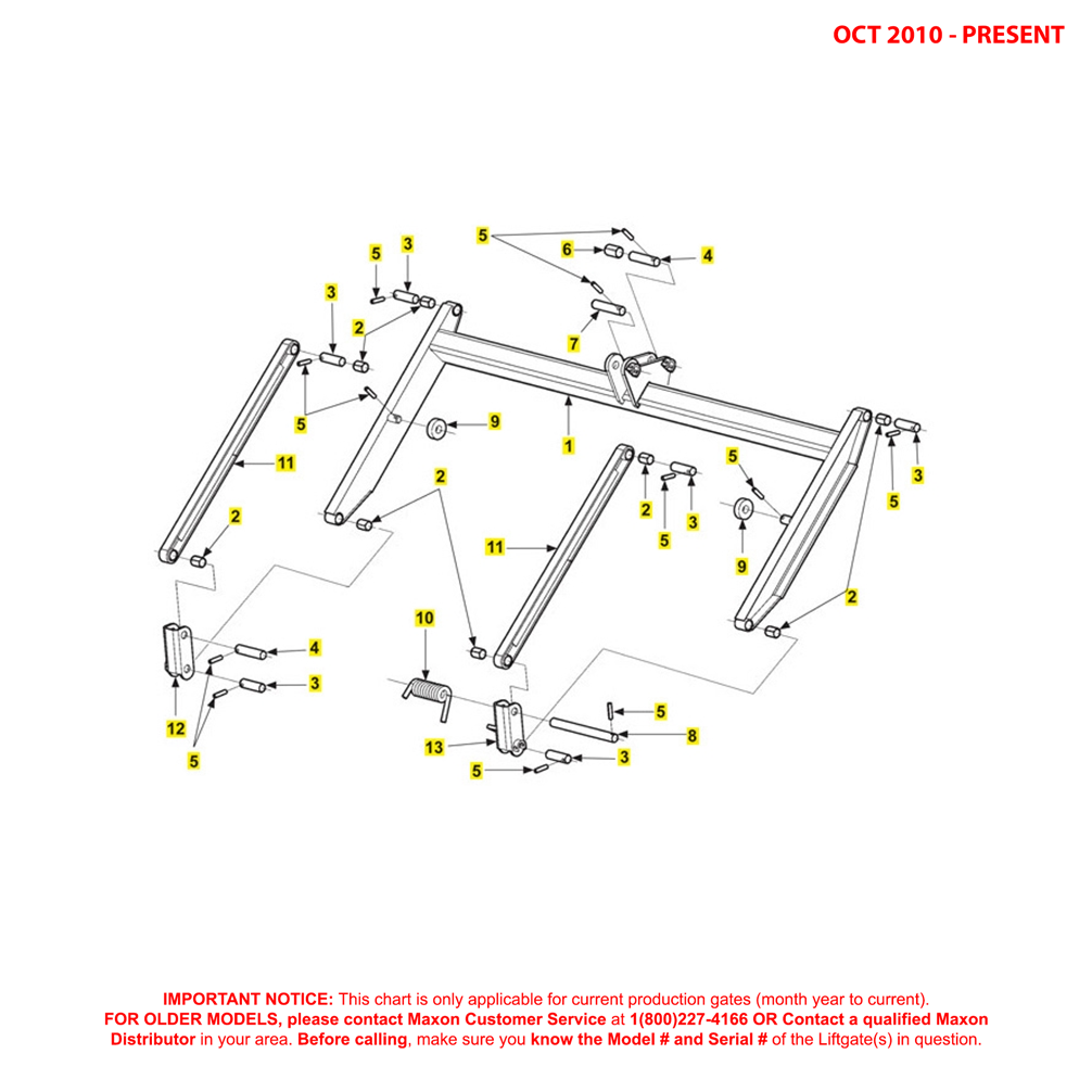 72-25/72-30 (Oct 2010 - Present) Lift Frame And Parallel Arms Diagram