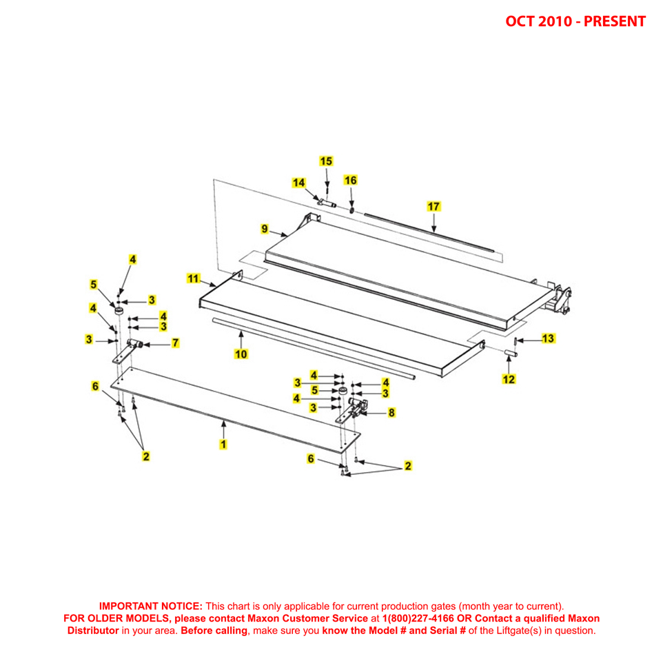 72-25/72-30 (Oct 2010 - Present) Special Profile Platform And Flipover Assembly Diagram