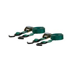 "CAMBUCKLE TIE-DOWN - 1"" STRAP - 15' LONG - GREEN - COATED S-HOOK - 2 PACK"