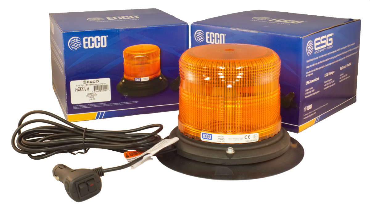 ECCO Lighting - LED Beacon: Pulse II | low profile | 12-48VDC | 11 flash patterns | vacuum-magnet mount | amber