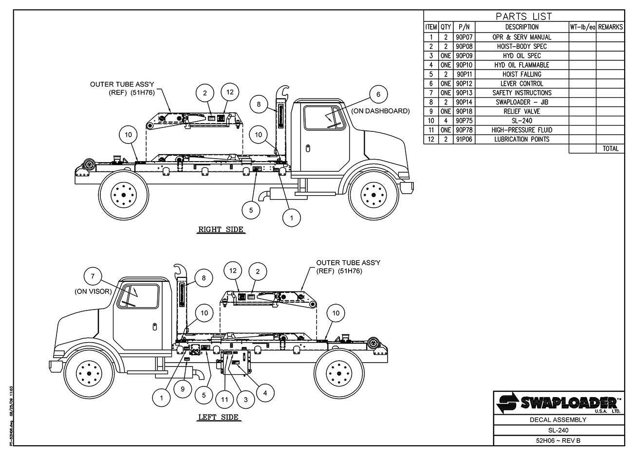Swaploader 200 Series - Sl-240 Hooklift Diagrams
