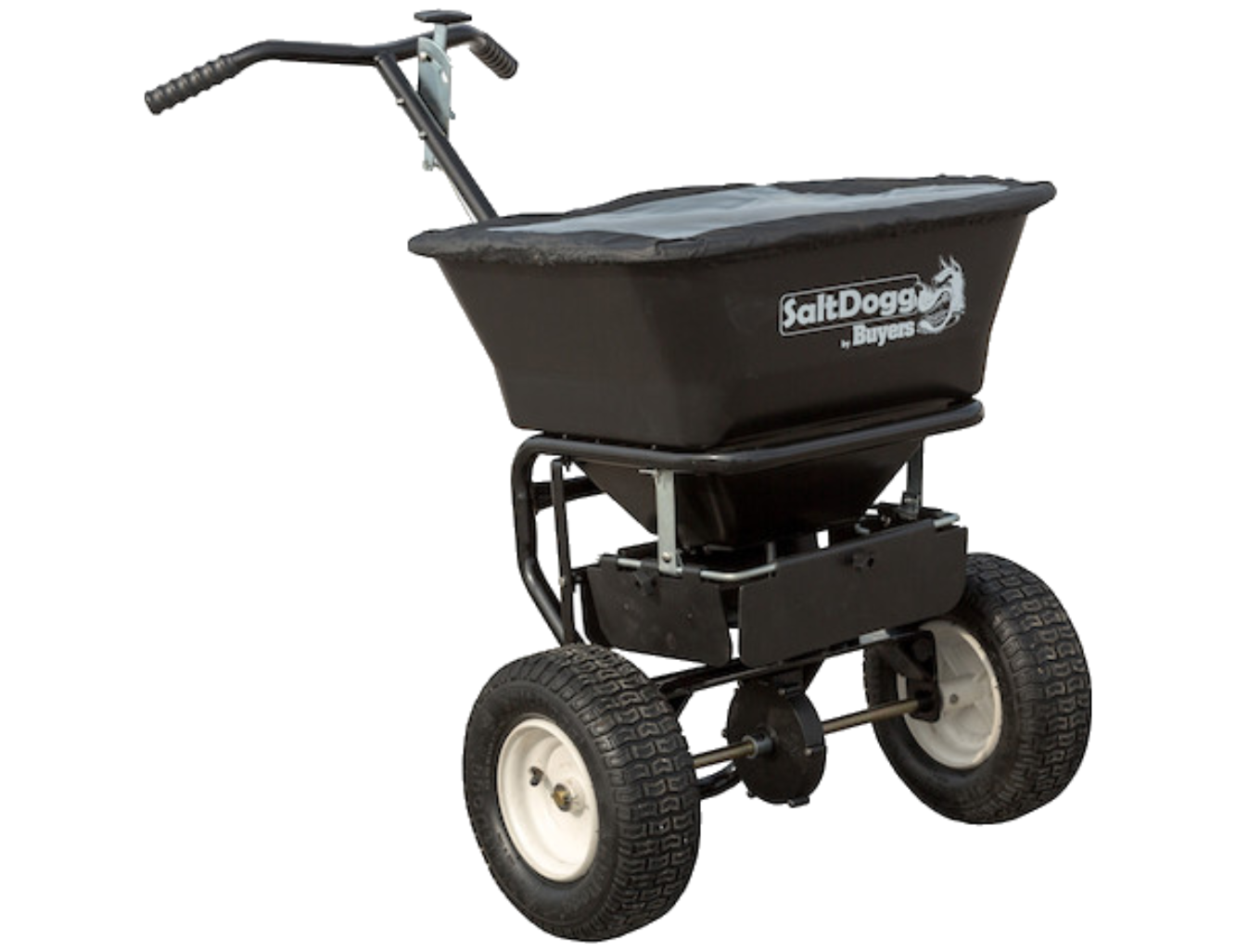 Buyers WB101G - SaltDogg 1.67 Cubic Foot Walk-Behind Broadcast Spreader With Black Powder-Coated Frame