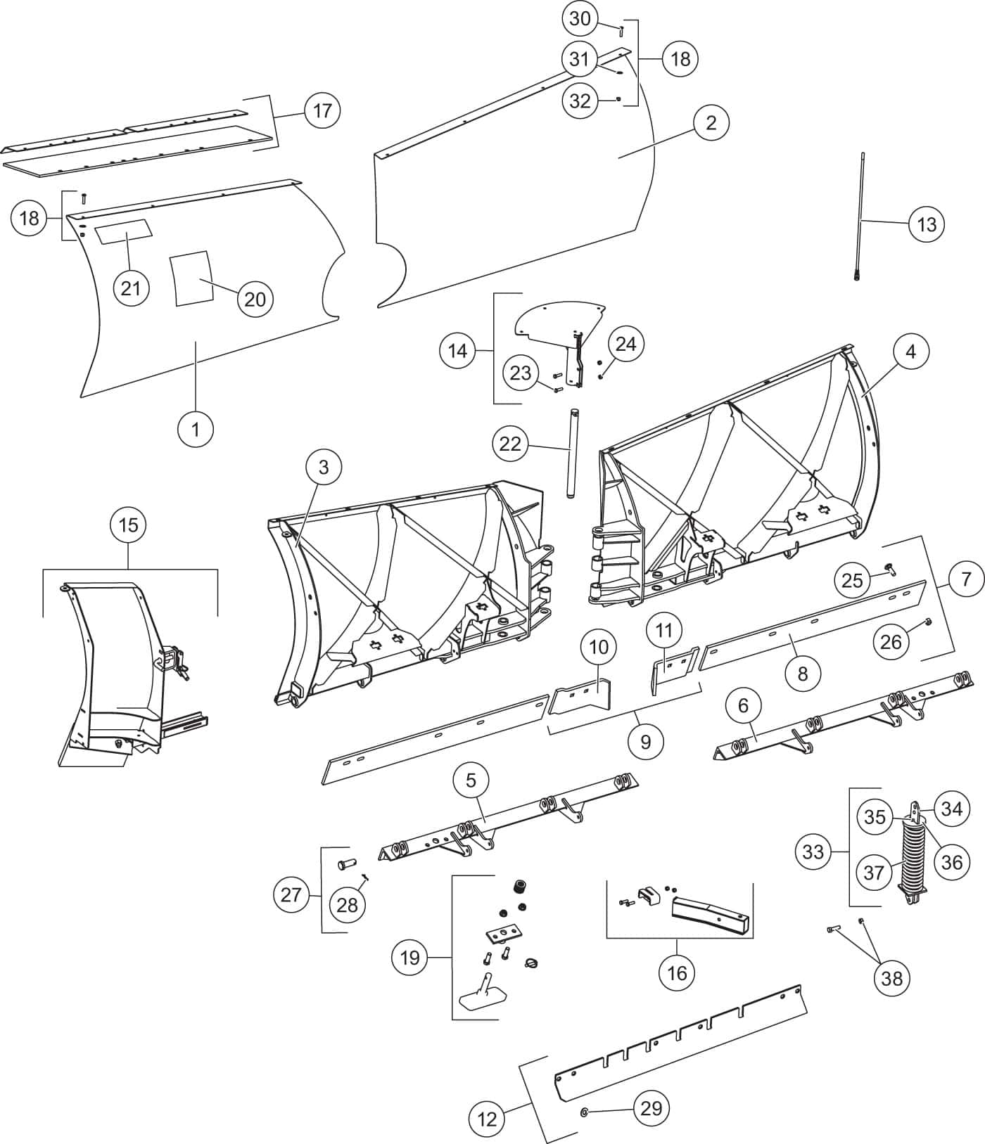 Fisher Xv Ba Xtremev Blade Assembly Shop Iteparts Wire Trailer Wiring Diagram Boat Also Blizzard Plow Harness Xv2 Components