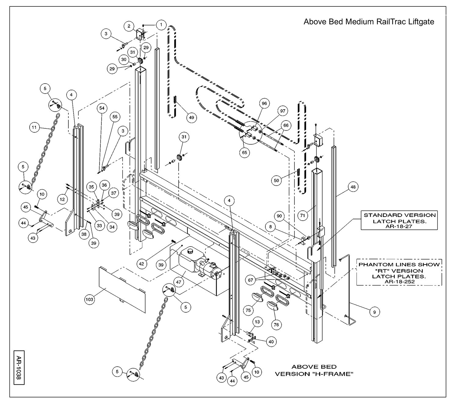 AR / HCR Above Bed Height Column Assembly Diagram
