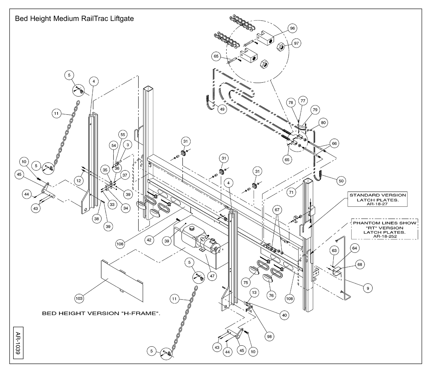 AR / HCR Bed Height Column Assembly Diagram