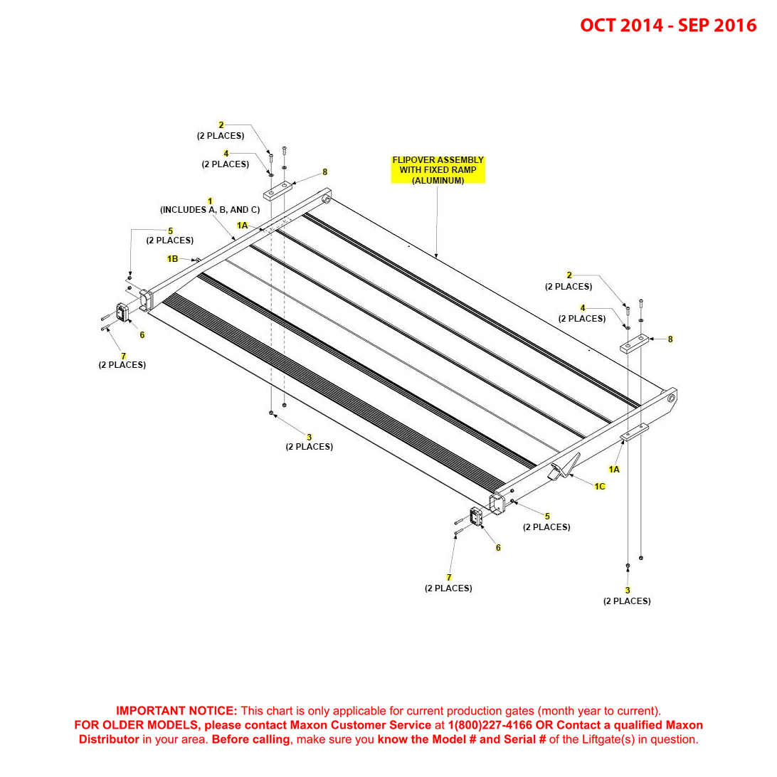 BMR (Oct 2014 - Sep 2016) Aluminum Flipover Assembly With Fixed Ramp