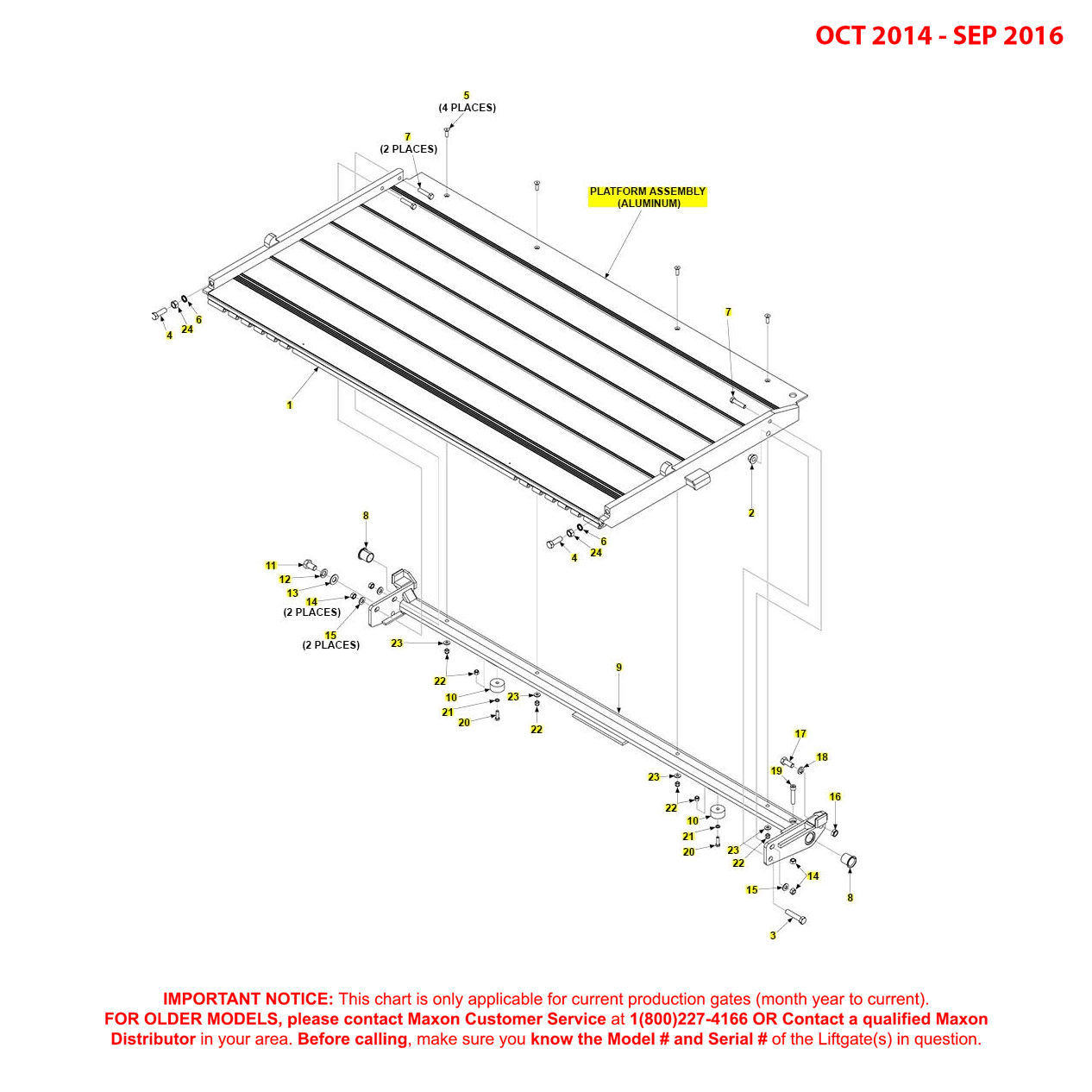BMR (Oct 2014 - Sep 2016) Aluminum Platform Assembly Diagram