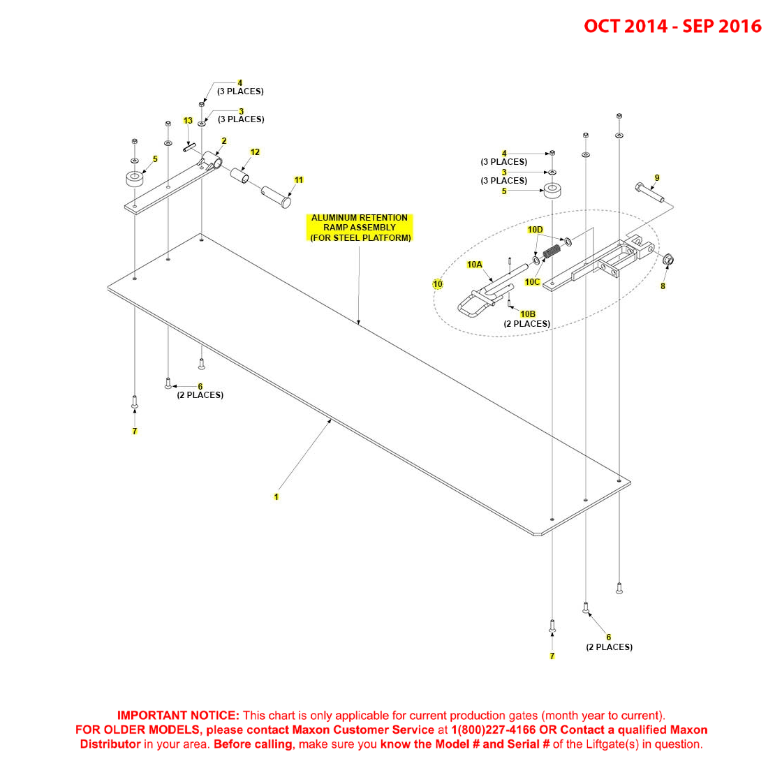 BMR (Oct 2014 - Sep 2016) Aluminum Retention Ramp Assembly For Steel Platform