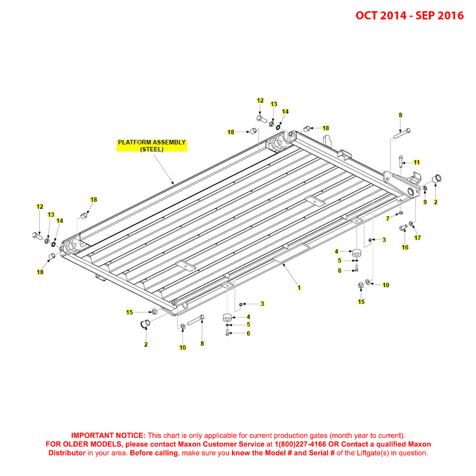 BMR (Oct 2014 - Sep 2016) Steel Platform Assembly Diagram
