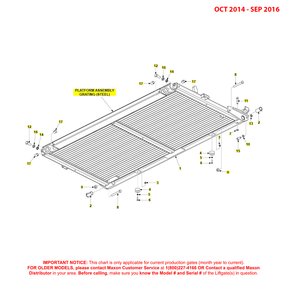 BMR (Oct 2014 - Sep 2016) Steel Platform Assembly Grating Diagram