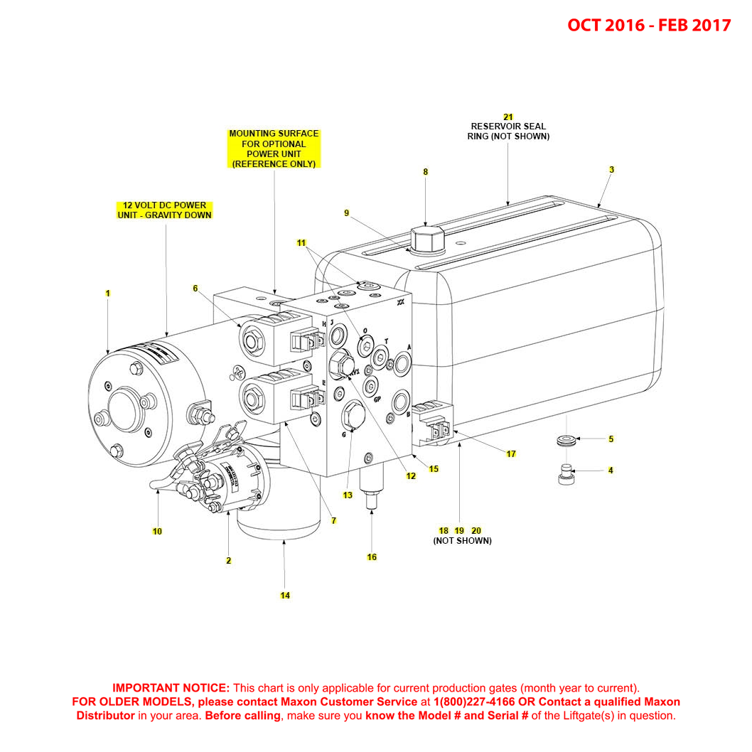 BMR (Oct 2016 - Feb 2017) 12VDC Gravity Down MTE Hydraulics Power Unit Diagram