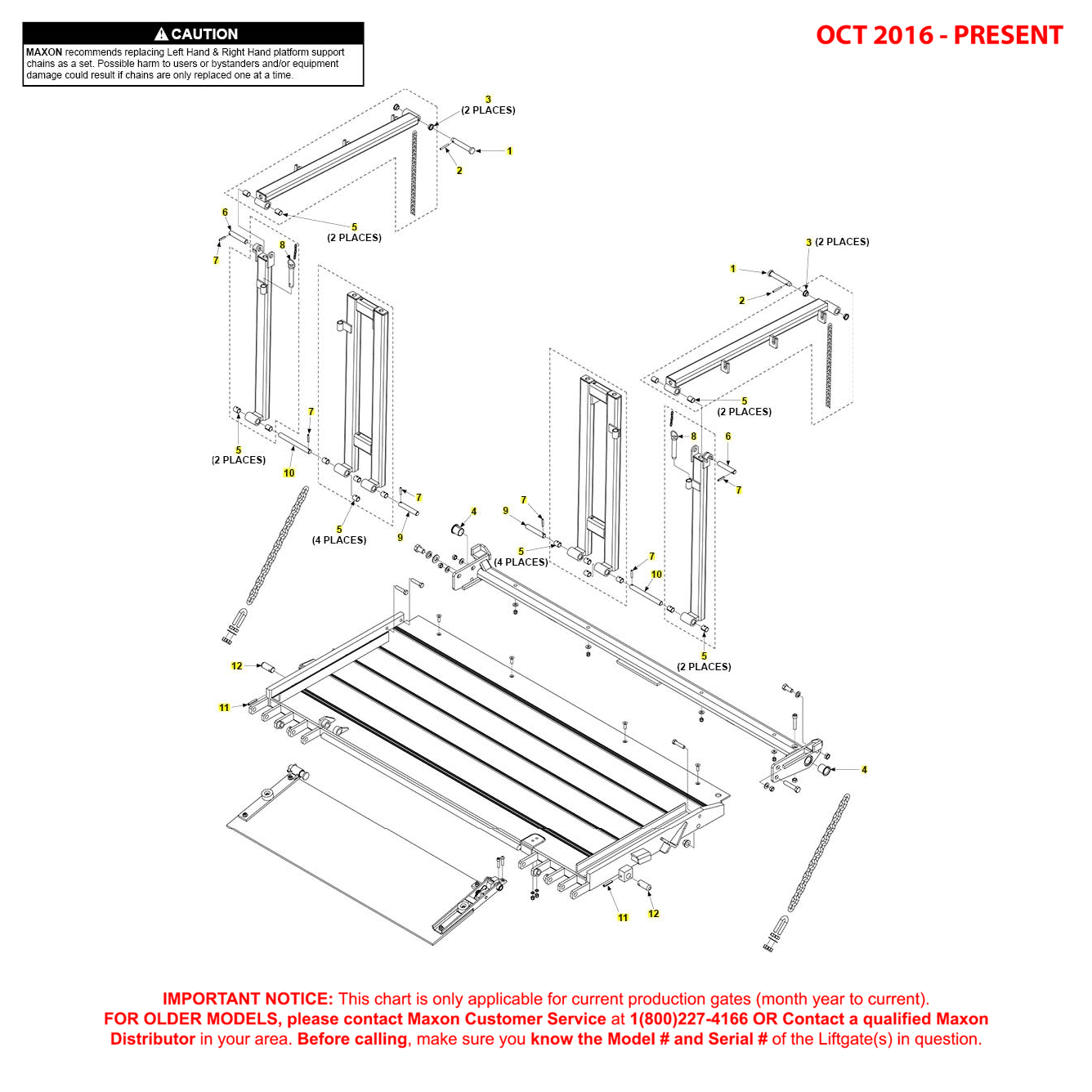 BMR-CS (Oct 2016 - Present) Aluminum Platform Assembly With Railings And Aluminum Retention Ramp Pins And Bushings