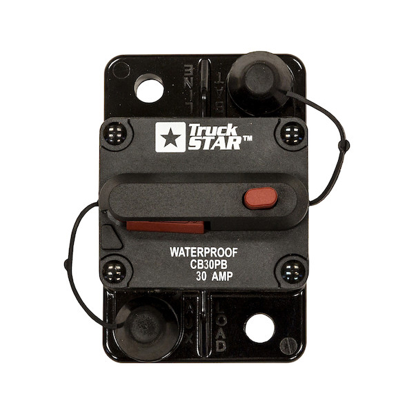 Buyers CB30PB - 30 Amp Circuit Breaker With Manual Push-To-Trip Reset