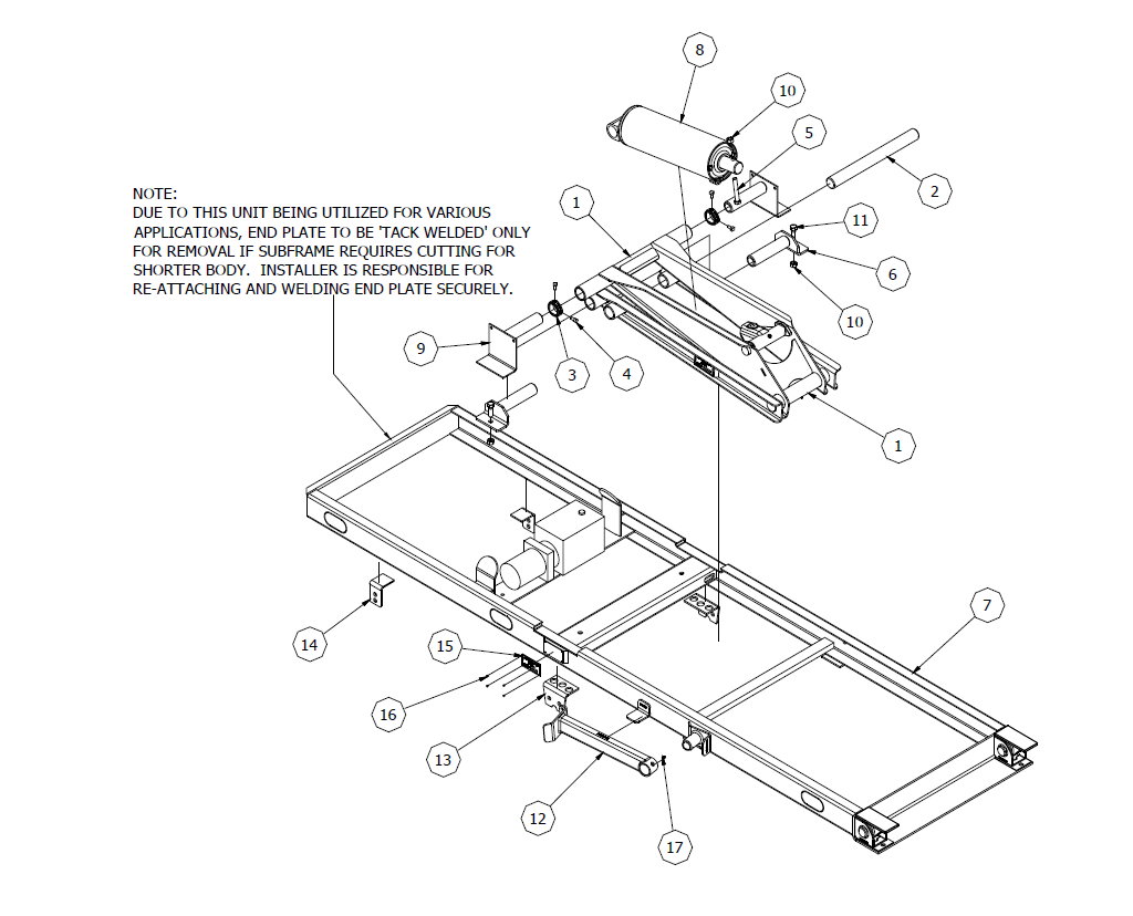 11' Champion Subframe Assembly Diagram