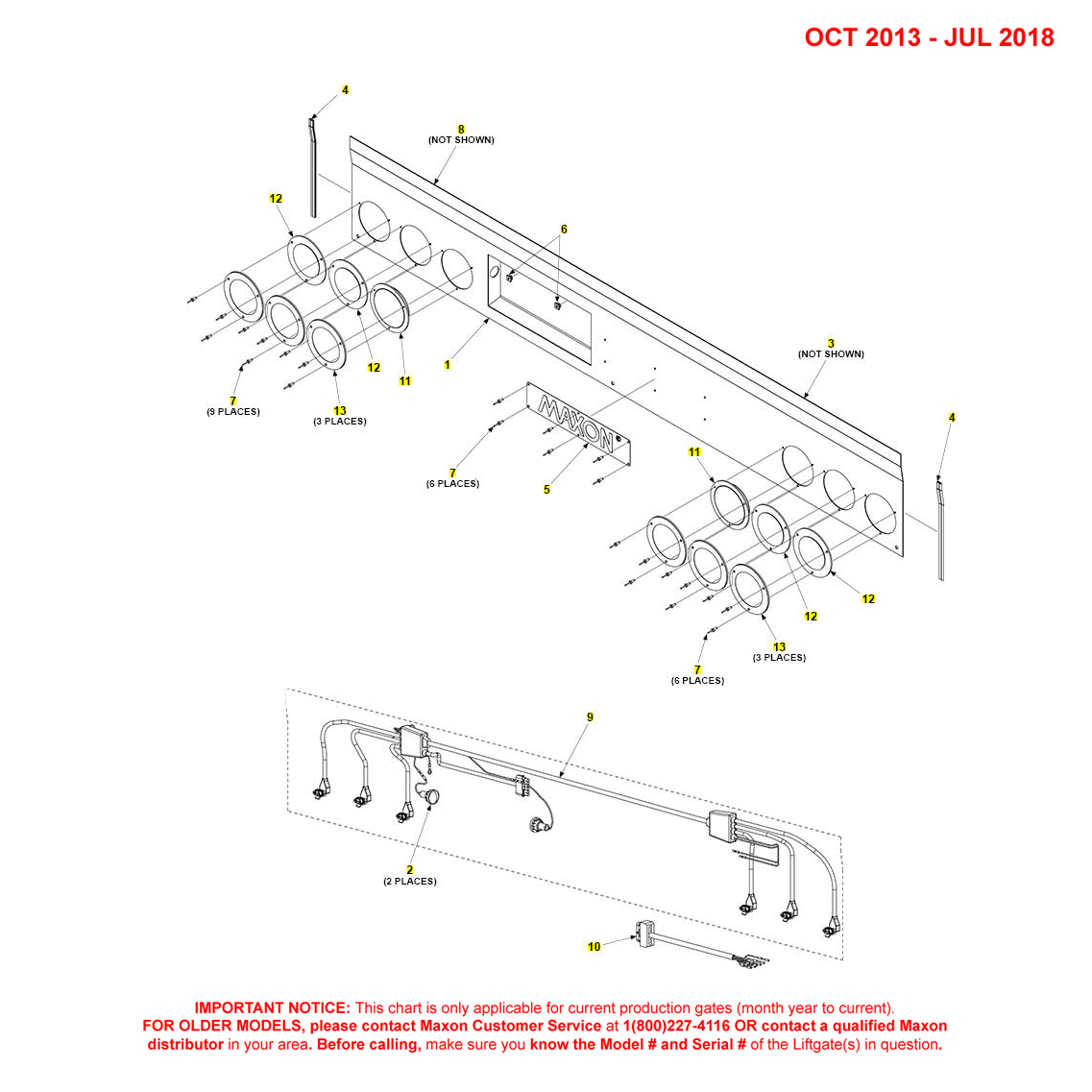 DMD (Oct 2013 - Jul 2018) Foreign Housing Cover Assembly With 4 Red/2 White Lights Diagram