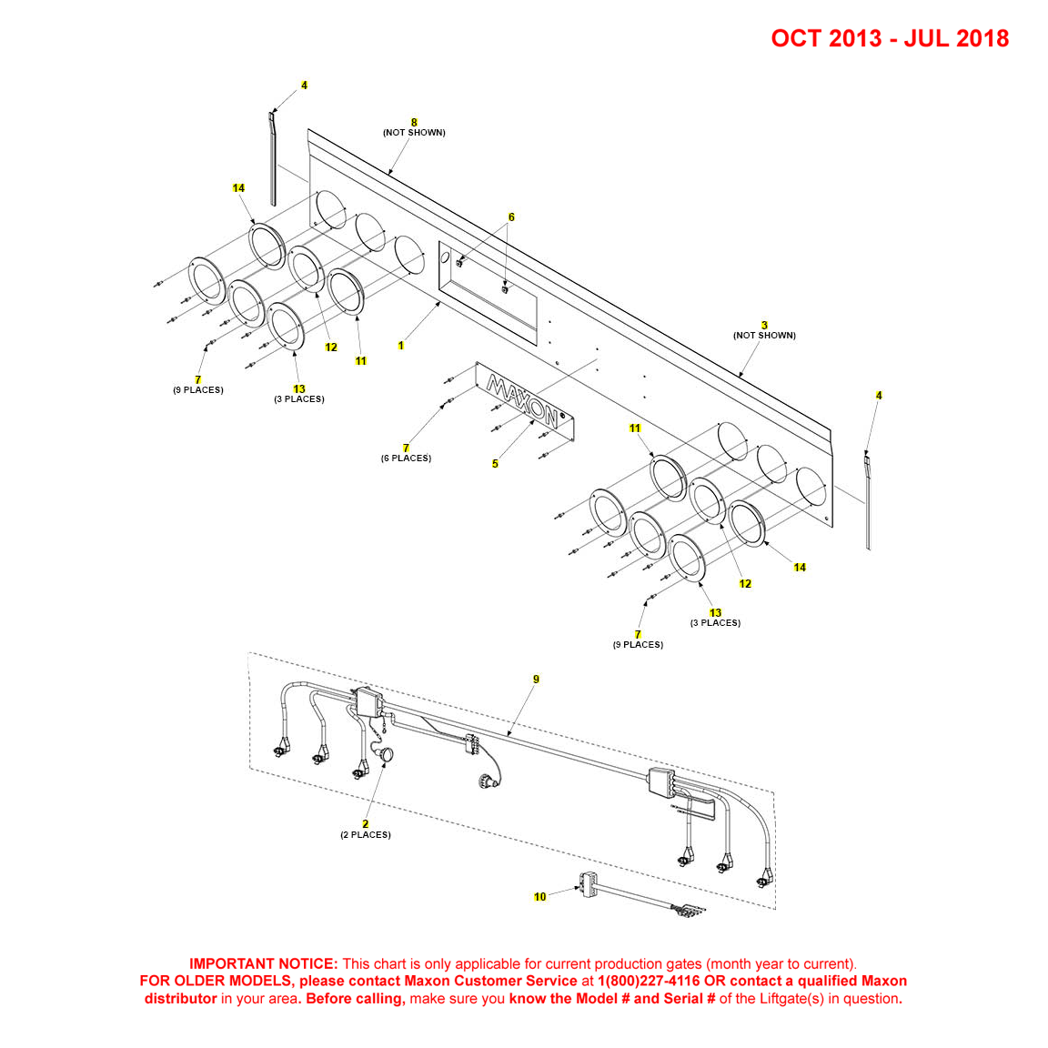 DMD (Oct 2013 - Jul 2018) Foreign Housing Cover Assembly With 6 Red/White/Yellow Lights Diagram