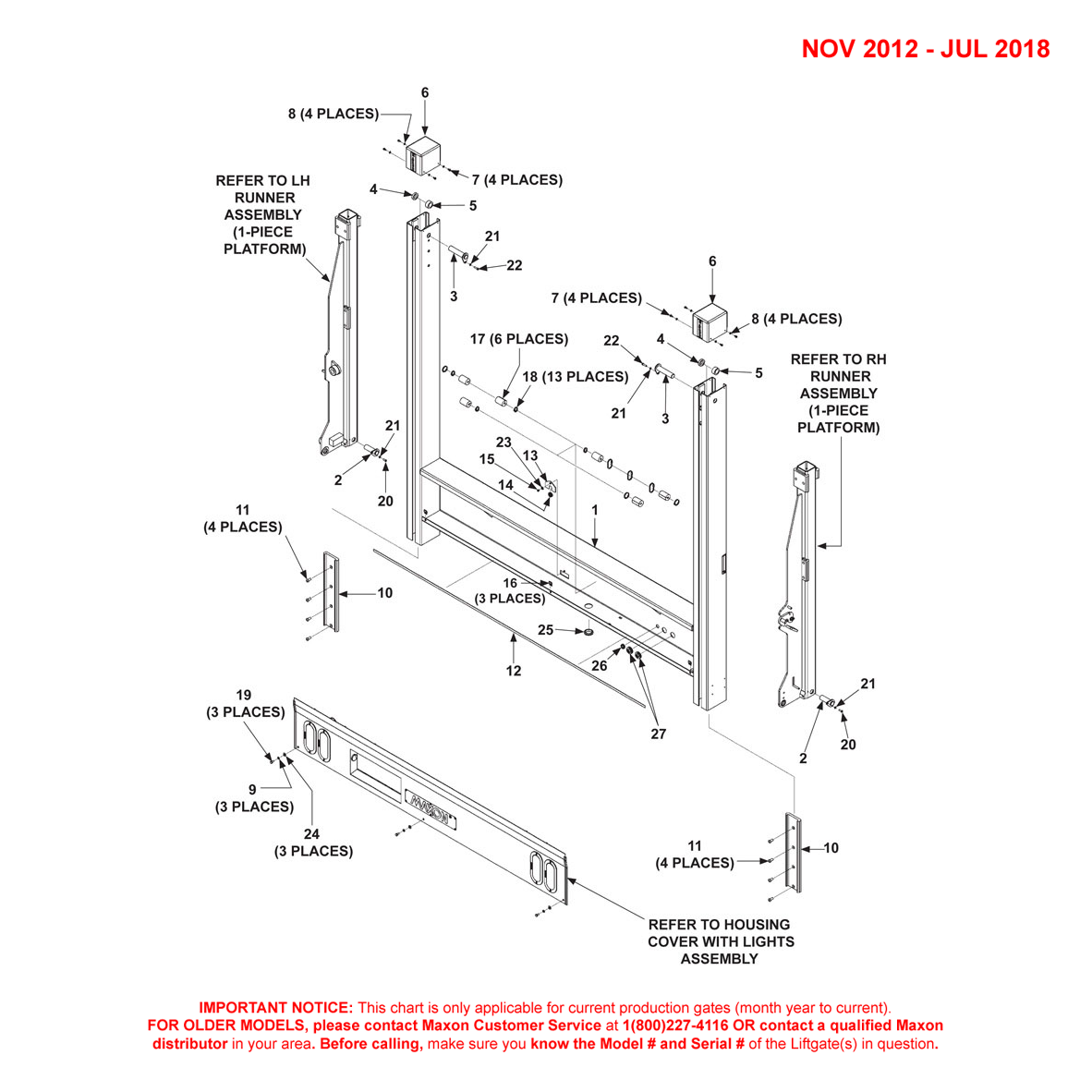 DMD (Nov 2012 - Jul 2018) 1-Piece Platform Main Assembly Diagram