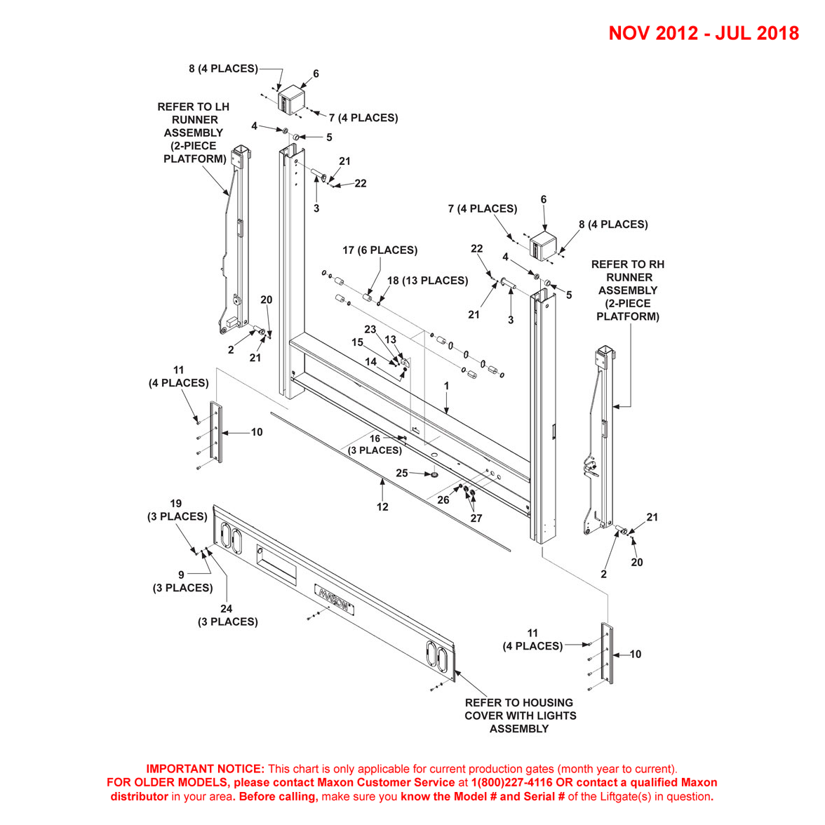 DMD (Nov 2012 - Jul 2018) 2-Piece Platform Main Assembly Diagram