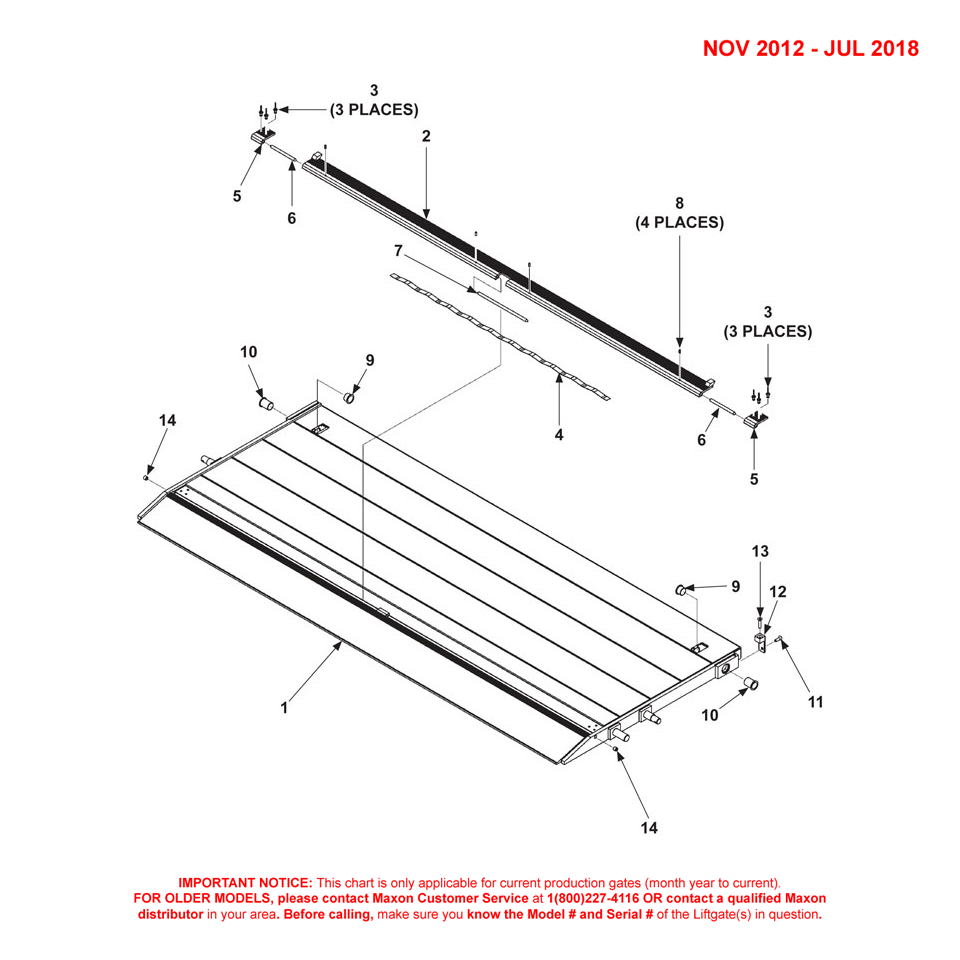 DMD (Nov 2012 - Jul 2018) Aluminum Platform 1-Piece/Single Cartstop Diagram - 1