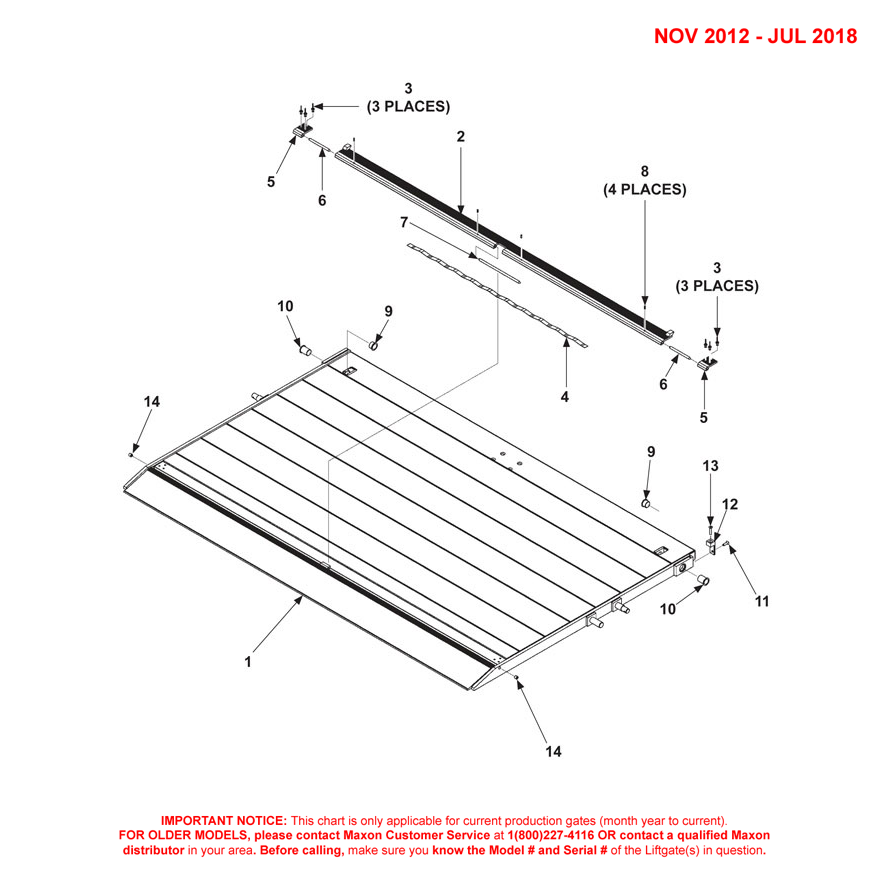 DMD (Nov 2012 - Jul 2018) Aluminum Platform 1-Piece/Single Cartstop Diagram - 2