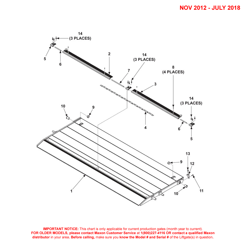 DMD (Nov 2012 - Jul 2018) Aluminum Platform 1-Piece/Dual Cartstop Diagram - 1