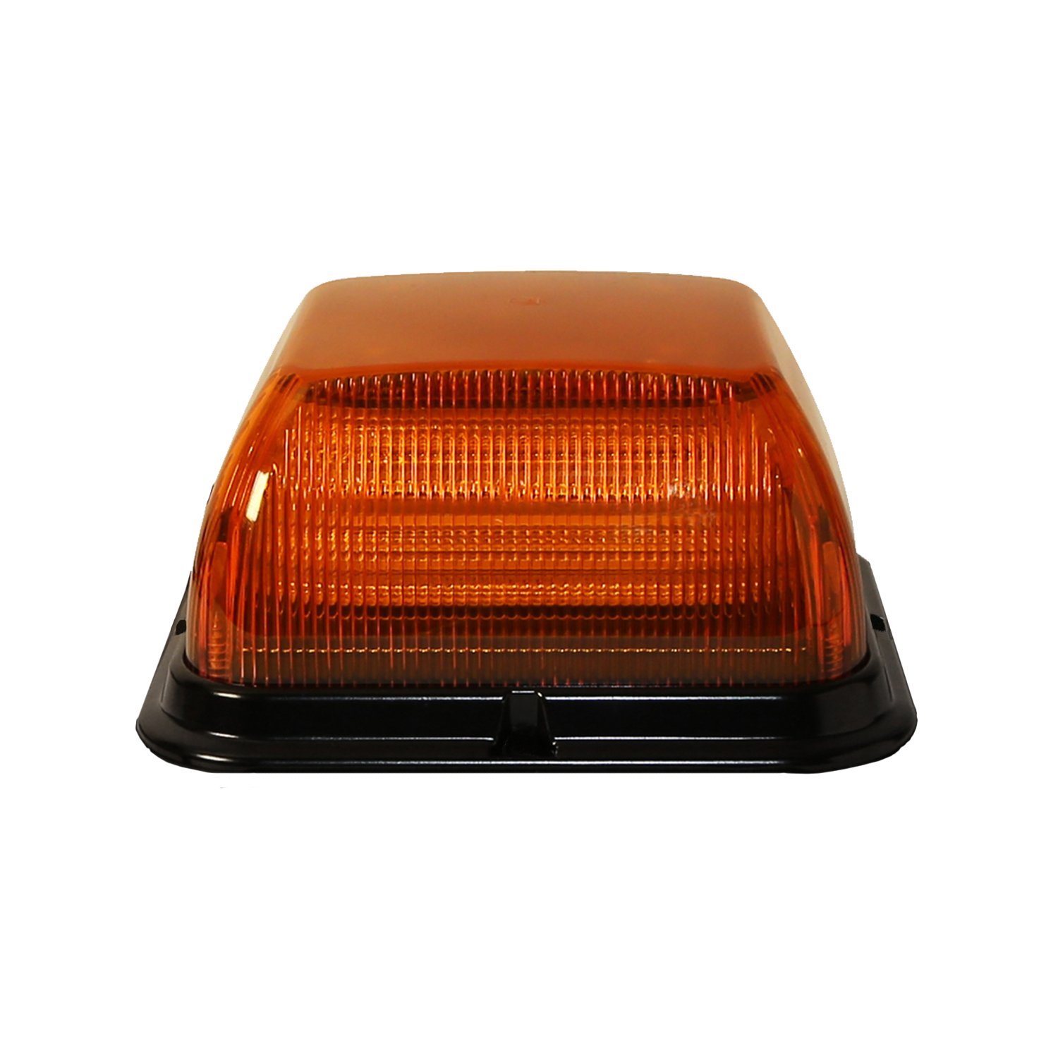 ECCO Lighting - LED Beacon: Dual-color | Square | reinforced polypropylene base | medium profile | 12-24VDC | 24 flash patterns | clear lens | amber/green illumination
