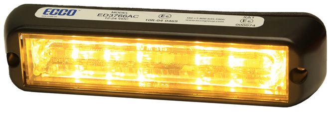 ECCO Lighting - Directional LED: Dual-color | surface mount | 12-24VDC | 12 flash patterns | amber/clear
