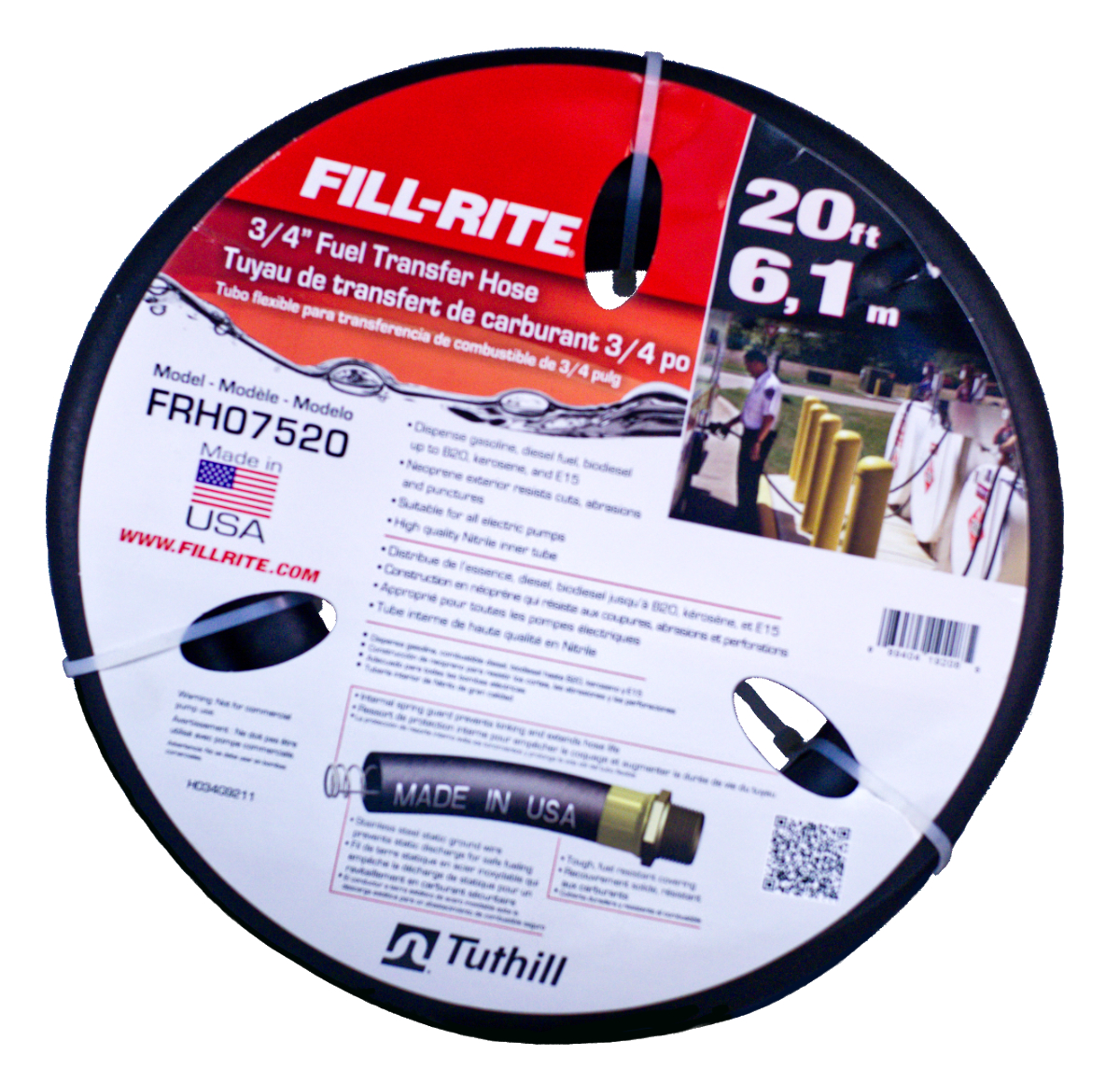 Fill-Rite FRH07520 - 3/4 Inch x 20 Foot Fuel Transfer Hose