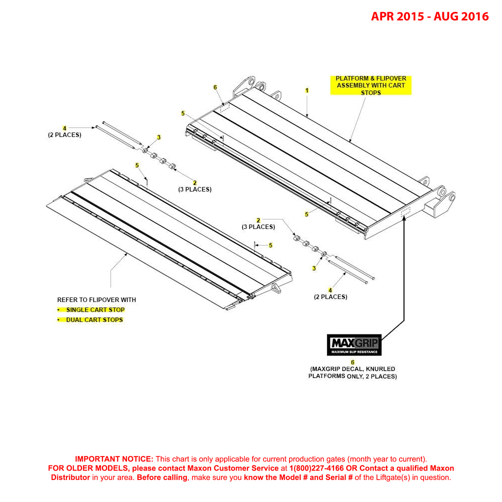 GPT (Apr 2015 - Aug 2016) Platform And Flipover Assembly With Cart Stops