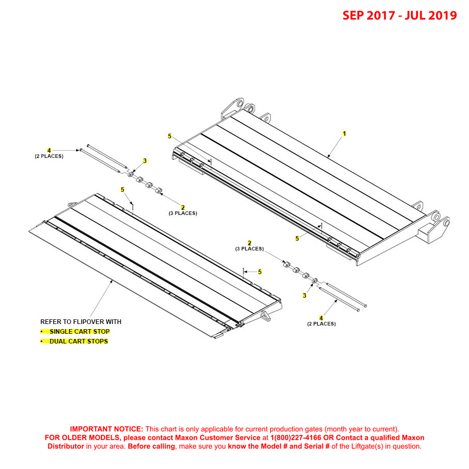 GPT (Sep 2017 - Jul 2019) Platform And Flipover Assembly With Cart Stops