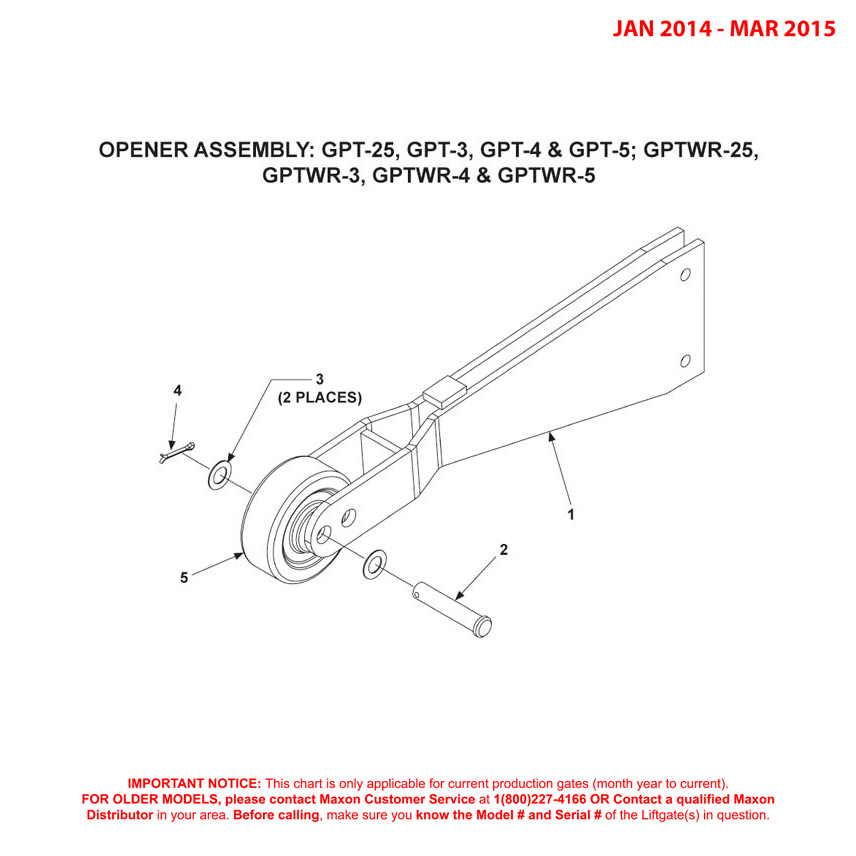 GPT-25/3/4/5 And GPTWR-25/3/4/5 (Jan 2014 - Mar 2015) Opener Assembly Diagram