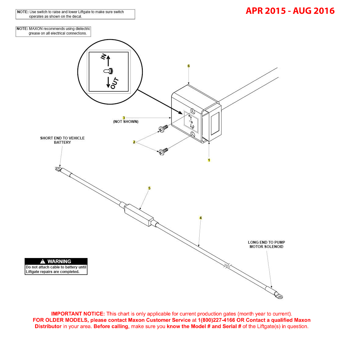 GPTWR (Apr 2015 - Aug 2016) Control Switch And Power Cable Diagram
