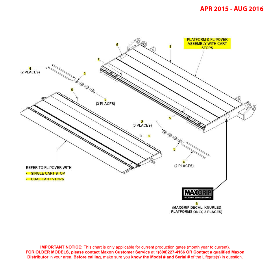 GPTWR (Apr 2015 - Aug 2016) Platform And Flipover Assembly With Cart Stops