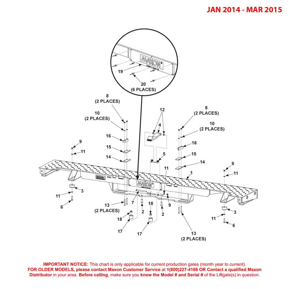 GPTWR (Jan 2014 - Mar 2015) Bolt-On Extension Plate Assembly Diagram