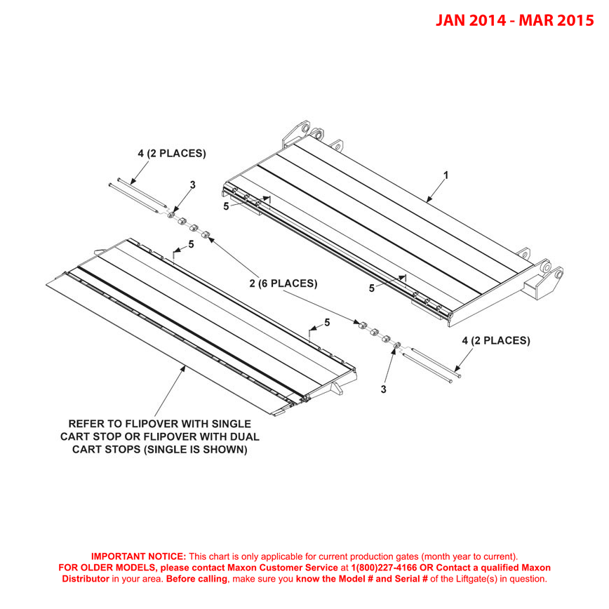 GPTWR (Jan 2014 - Mar 2015) Platform And Flipover Assembly With Cart Stops
