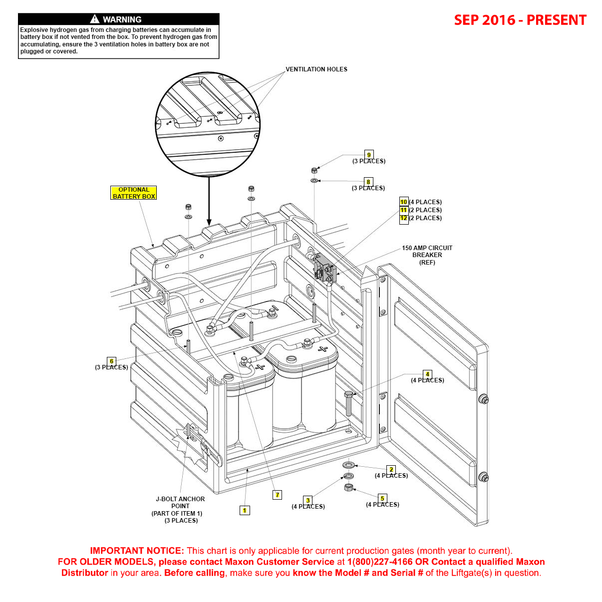 GPTWR (Sep 2016 - Present) Optional Battery Box Assembly Diagram