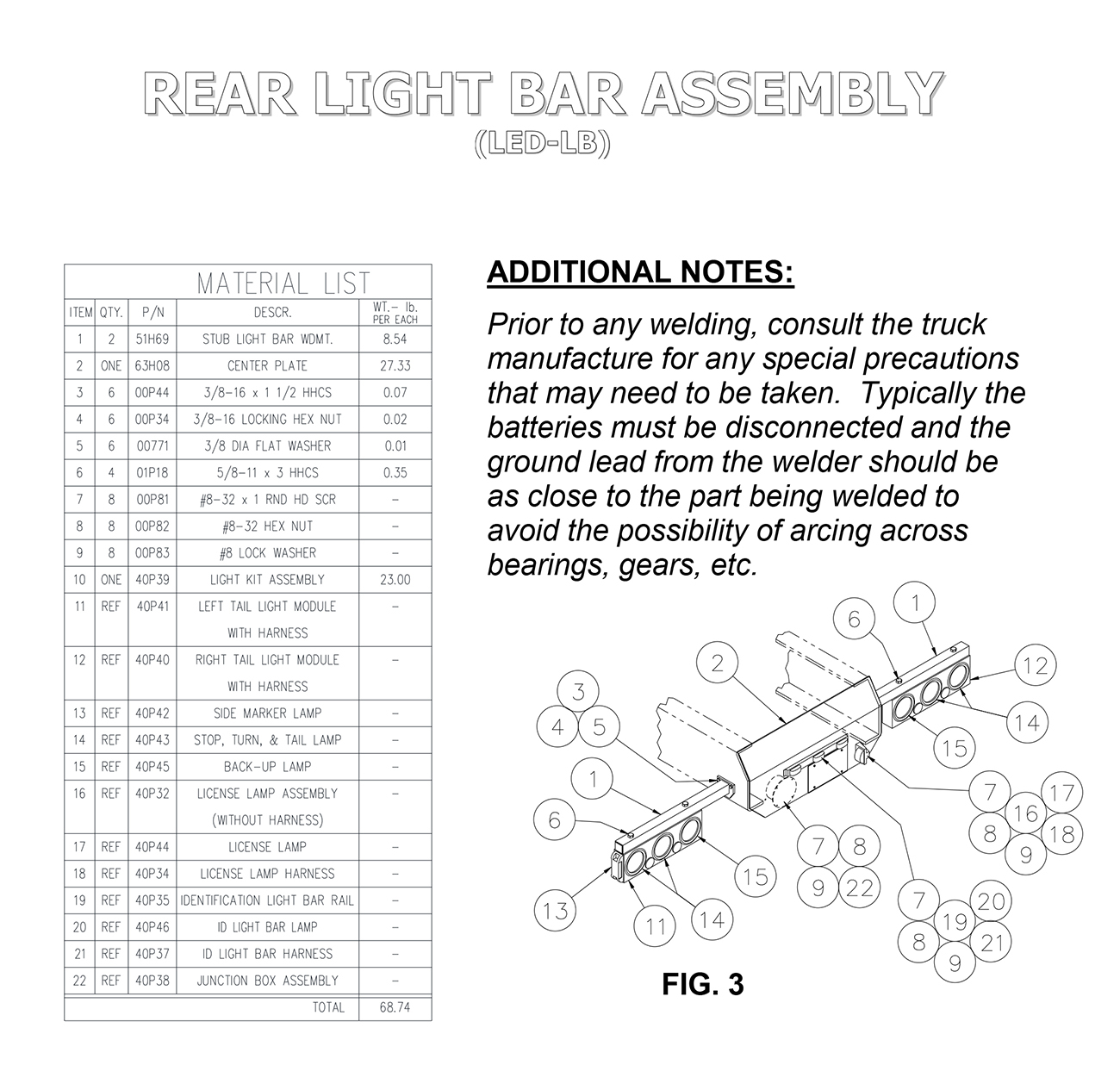 LED-LB Rear Light Bar Assembly Diagram